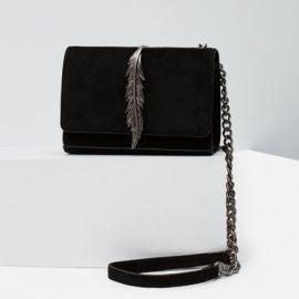 Leather messenger bag with metal detail at Zara