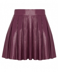 Leather pleated skirt in mulberry at Alice + Olivia