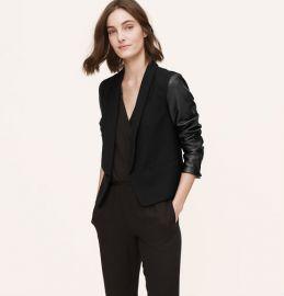 Leather sleeve blazer at Loft