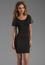 Leather sleeve dress by Bobi at Revolve