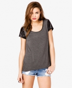 Leather sleeve tee by Forever 21 at Forever 21