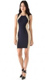 Leather trim colorblock dress by David Lerner at Shopbop