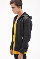Leather trim hoodie at Forever 21
