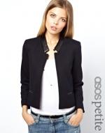 Leather trim jacket at Asos
