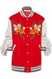 Leather-trimmed embroidered wool-blend bomber jacket at Net A Porter