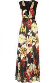Leather-trimmed floral-print silk maxi dress at The Outnet