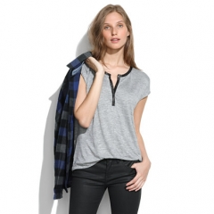 Leather trimmed henley tee at Madewell