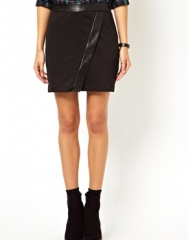 Leather trimmed wrap skirt at Asos