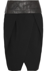 Leather trimmed wrap skirt by Alexander Wang at Net A Porter