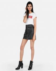 Leather zip front skirt at Express