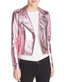 Lecce Metallic Leather Biker Jacket at Bloomingdales