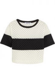 Leda cropped laser-cut crepe and mesh top at The Outnet