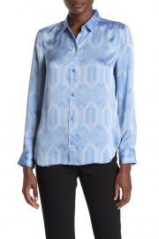 Leema Printed Button-Front Satin Blouse at Nordstrom Rack