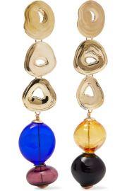 Leigh Miller - Gumdrop long gold-tone and glass earrings at Net A Porter