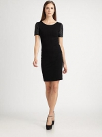Leilana Leather Sleeve Dress by Theory at Saks Fifth Avenue