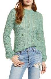 Leith Cozy Pointelle Blouson Sleeve Sweater   Nordstrom at Nordstrom