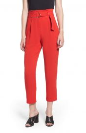 Leith Paperbag Waist Crop Pants at Nordstrom