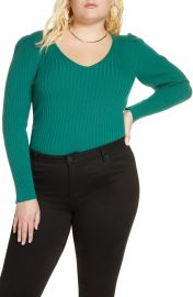 Leith Puff Shoulder Ribbed Sweater  Plus Size    Nordstrom at Nordstrom