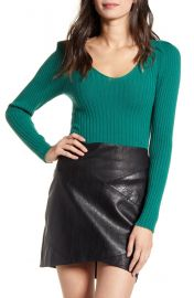 Leith Ribbed Puff Sleeve Sweater   Nordstrom at Nordstrom