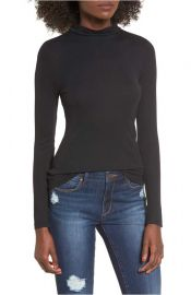 Leith Sheer Mock Neck Tee at Nordstrom