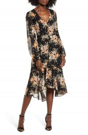Leith Button Front Midi Dress   Nordstrom at Nordstrom