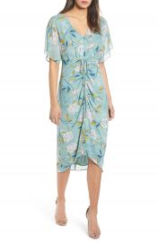 Leith Floral Ruched Midi Dress   Nordstrom at Nordstrom