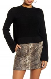 Leith Mock Neck Bell Sleeve Crop Sweater   Nordstrom at Nordstrom