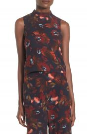 Leith Mock Neck Floral Print Tank at Nordstrom