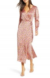 Leith Pink Leopard Print Long Sleeve Satin Midi Wrap Dress   Nordstrom at Nordstrom