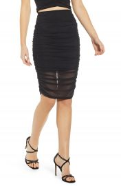 Leith Ruched Mesh Pencil Skirt   Nordstrom at Nordstrom