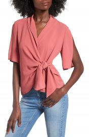 Leith Tie Front Wrap Top at Nordstrom