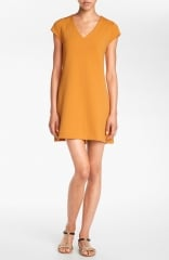 Leith V-Neck Shift Dress in orange at Nordstrom