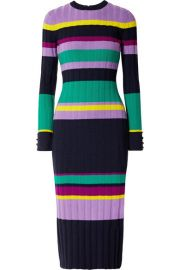 Lela Rose - Color-block ribbed wool-blend midi dress at Net A Porter