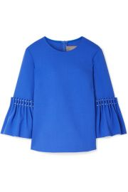 Lela Rose - Faux pearl-embellished wool-blend crepe top at Net A Porter