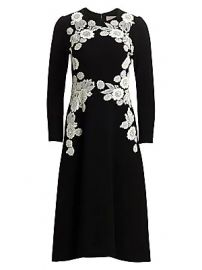 Lela Rose - Lace Appliqu   Wool Crepe Dress at Saks Fifth Avenue