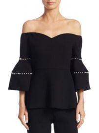 Lela Rose - Off-The-Shoulder Bell-Sleeve Top at Saks Fifth Avenue