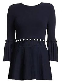 Lela Rose - Pleated Long Sleeve Top at Saks Fifth Avenue
