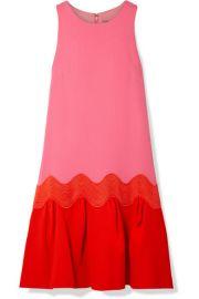 Lela Rose - Rickrack-trimmed two-tone wool-blend crepe dress at Net A Porter