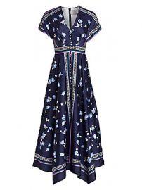 Lela Rose - V-Neck Floral Button-Front Scarf Dress at Saks Fifth Avenue