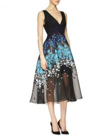 Lela Rose Floral-Embroidered Fit-And-Flare Combo Dress at Neiman Marcus