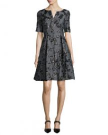 Lela Rose Floral Jacquard Half-Sleeve Dress BlackGray at Neiman Marcus