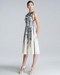 Lela Rose Floral-Print Halter Dress at Neiman Marcus