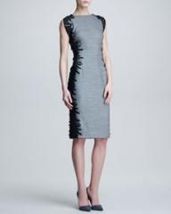 Lela Rose Flutter-Lace Sheath Dress at Neiman Marcus