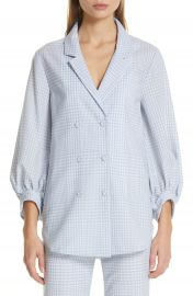 Lela Rose Gingham Tropical Wool Blouse   Nordstrom at Nordstrom