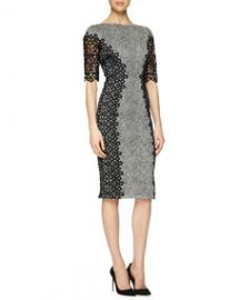 Lela Rose Lace-Detailed Speckled Dress at Neiman Marcus