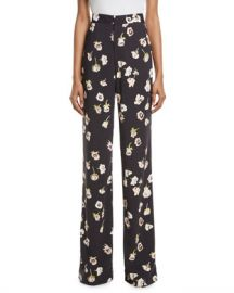 Lela Rose Maggie High-Waist Wide-Leg Floral-Print Pants at Neiman Marcus