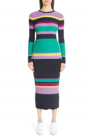 Lela Rose Ribbed Stripe Wool Blend Sweater Dress   Nordstrom at Nordstrom