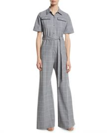 Lela Rose Short-Sleeve Belted Windowpane Check Wide-Leg Wool-Blend Jumpsuit at Neiman Marcus