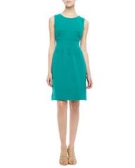 Lela Rose Sleeveless Classic Sheath Dress Jade at Neiman Marcus
