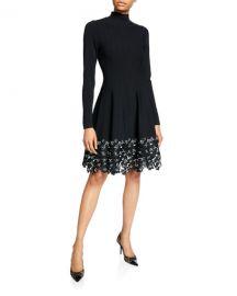 Lela Rose Turtleneck Lace Hem Knit Dress at Neiman Marcus